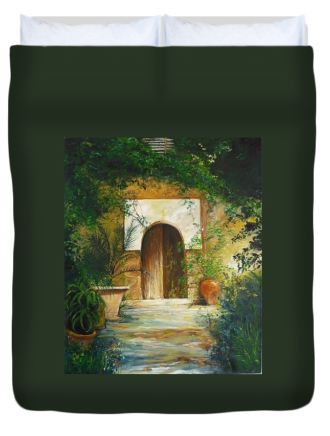 Farmhouse Courtyard Duvet Cover featuring the painting Patio Mallorquin by Lizzy Forrester
