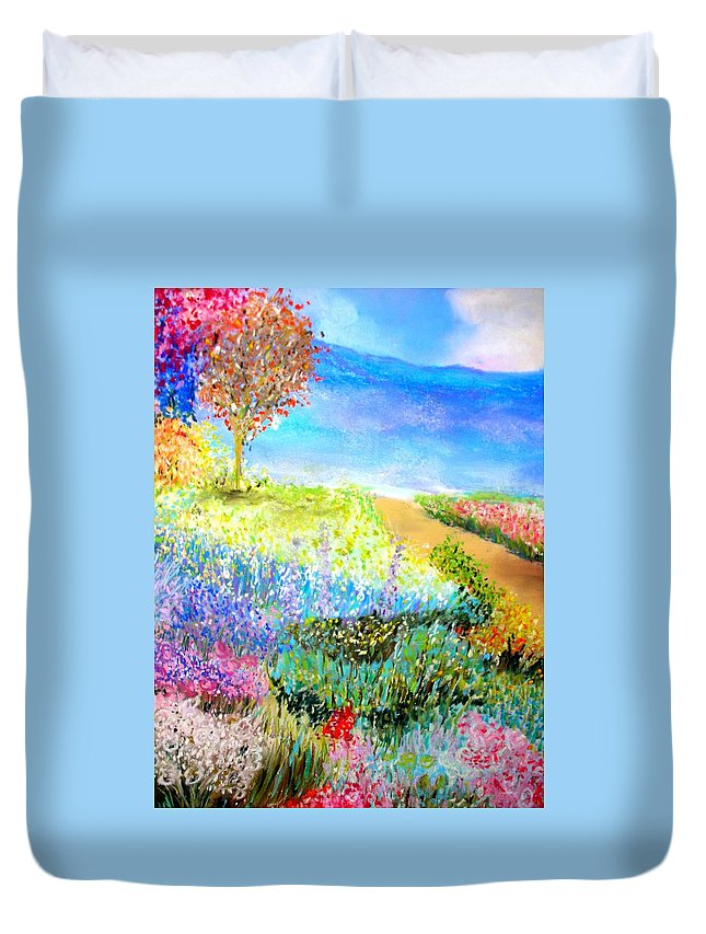 Landscape Duvet Cover featuring the print Patricia's Pathway by Melinda Etzold