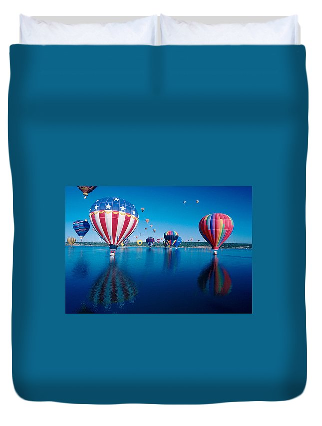 Hot Air Balloons Duvet Cover featuring the photograph Patriotic Hot Air Balloon by Jerry McElroy