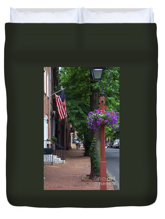 Cityscape Duvet Cover featuring the photograph Patriotic Street In Philadelphia by Debbi Granruth