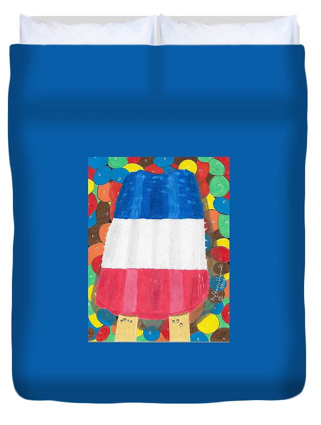 Summertime Duvet Cover featuring the painting Patriotic Summertime by Dr Jessie Hummel