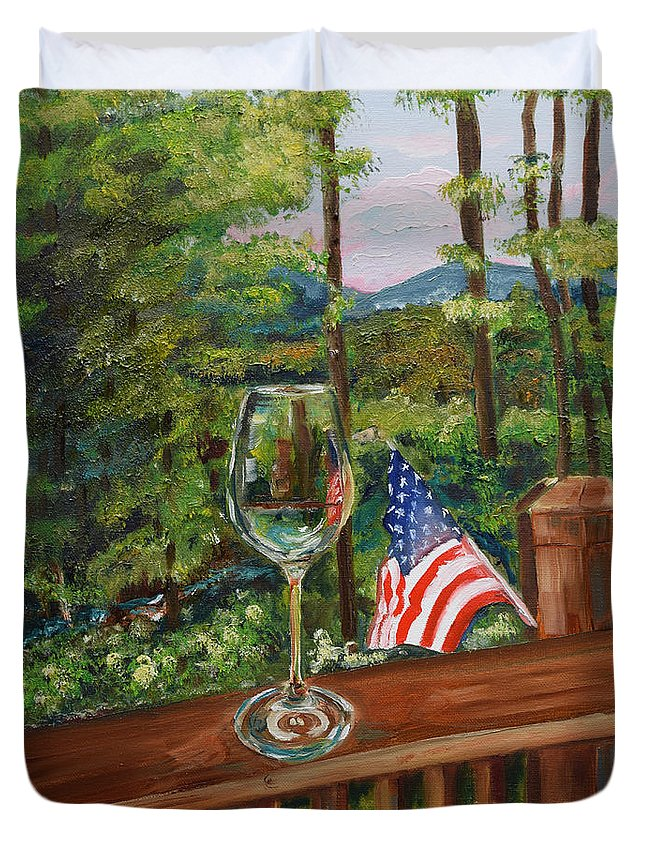 American Flag Duvet Cover featuring the painting Star Spangled Wine - Fourth Of July - Blue Ridge Mountains by Jan Dappen