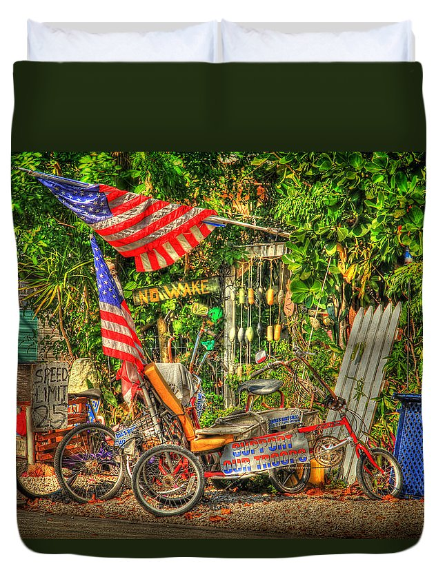 American Duvet Cover featuring the photograph Patriots In The Keys by Scott Bert