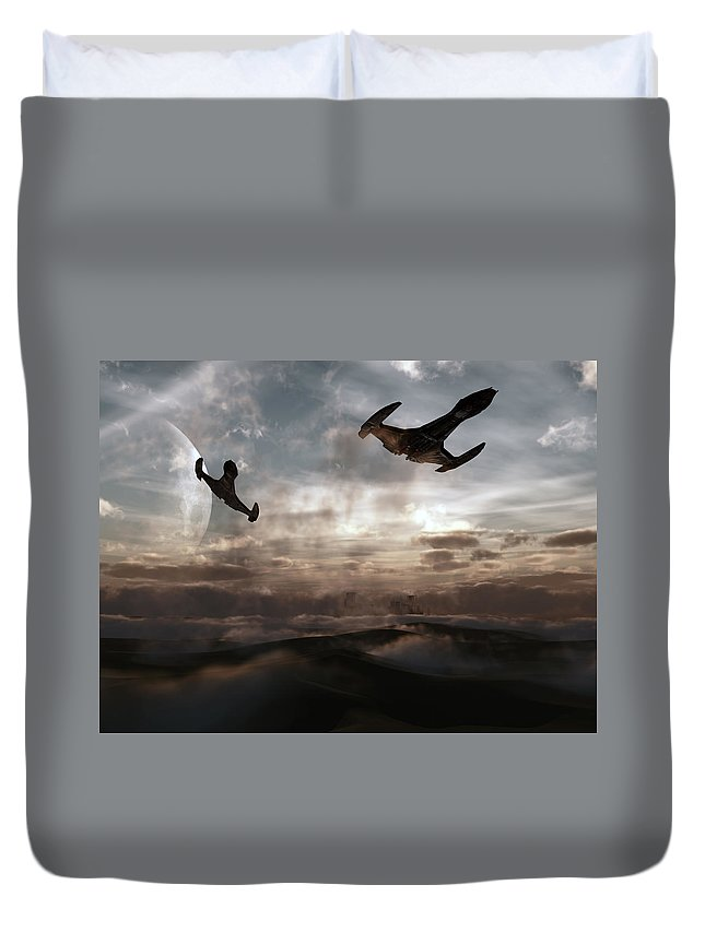 Sci-fi Duvet Cover featuring the digital art Patrol Of Sector 9 by Richard Rizzo