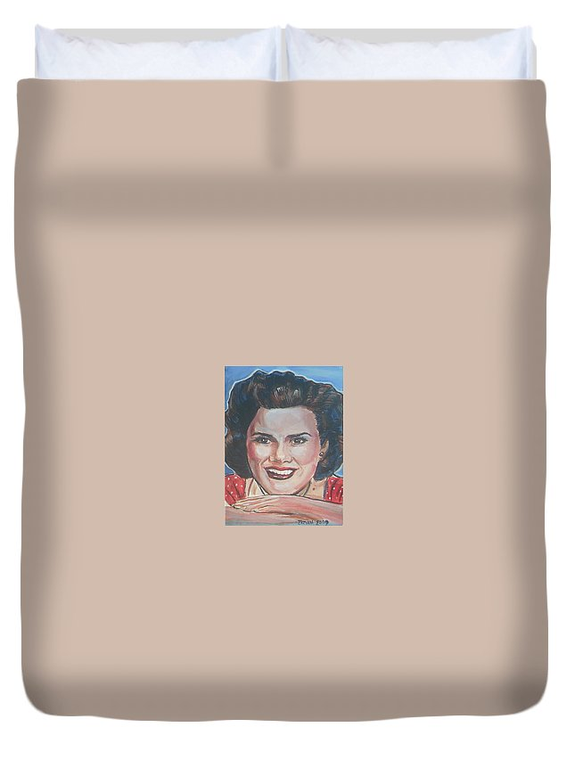 Patsy Cline Duvet Cover featuring the painting Patsy Cline by Bryan Bustard