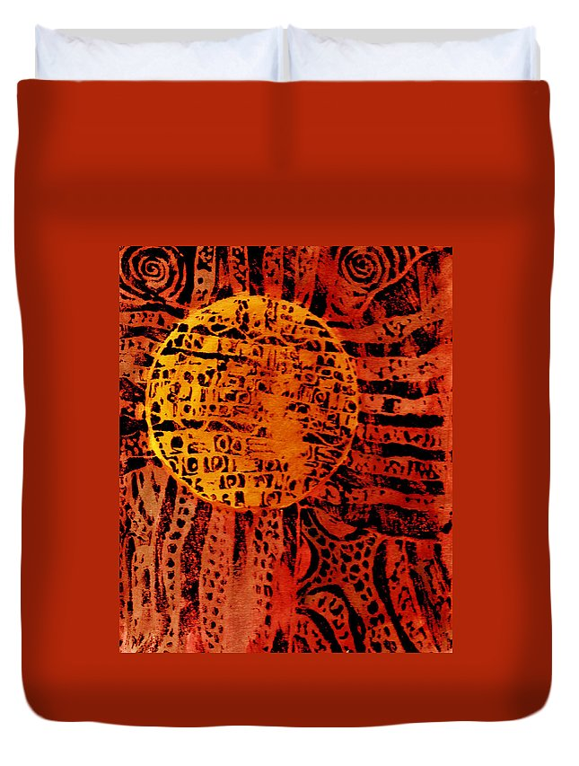 Abstract Duvet Cover featuring the painting Patterns In The Sun by Wayne Potrafka