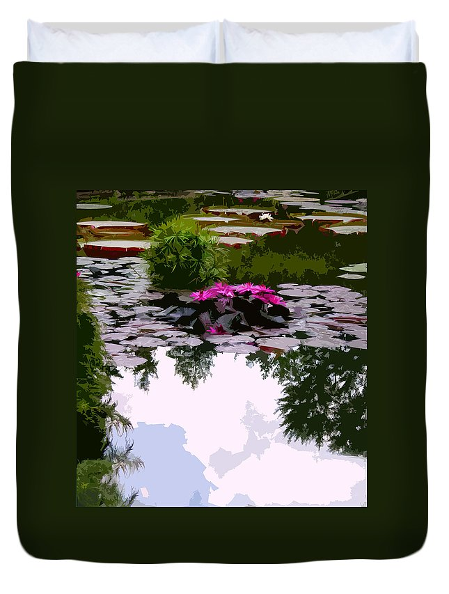 Water Lilies Duvet Cover featuring the photograph Patterns of Peace by John Lautermilch