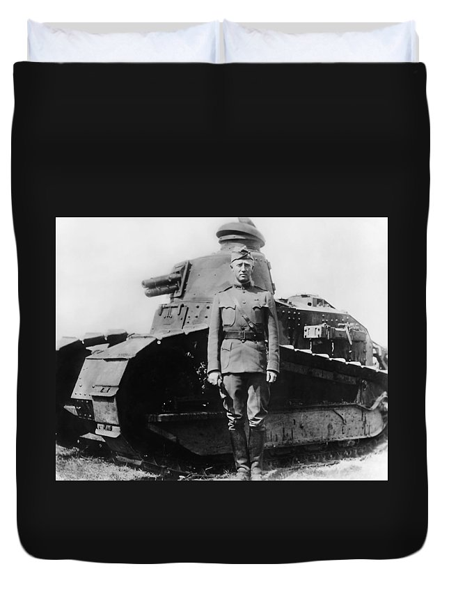 George Patton Duvet Cover featuring the photograph Patton Beside a Renault Tank - WWI by War Is Hell Store