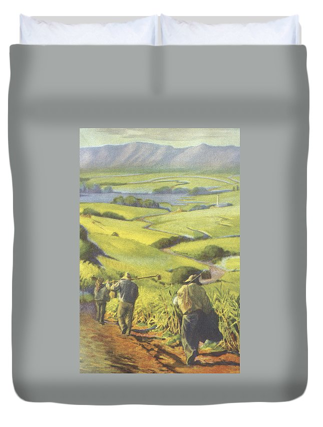 1935 Duvet Cover featuring the painting Pau Kanaka Work by Hawaiian Legacy Archive - Printscapes