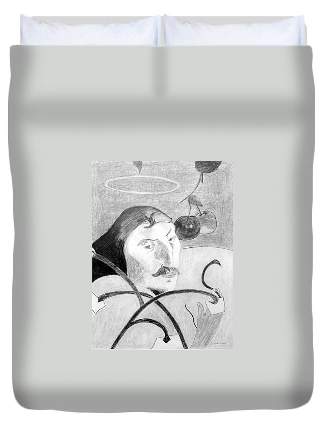 Pencil Duvet Cover featuring the drawing Paul Gauguin by Jamie Frier