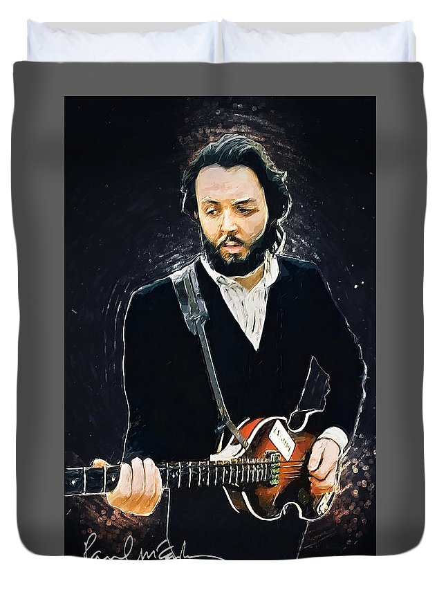 Paul Mccartney Duvet Cover featuring the digital art Paul McCartney by Zapista OU