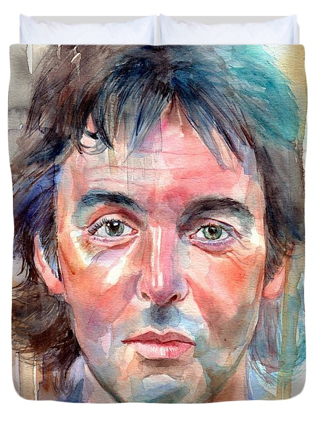 Paul Duvet Cover featuring the painting Paul McCartney young portrait by Suzann Sines