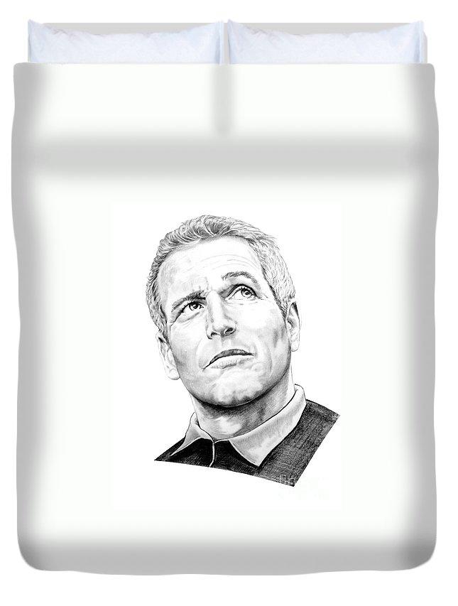 Paul Newman Duvet Cover featuring the drawing Paul Newman by Murphy Elliott