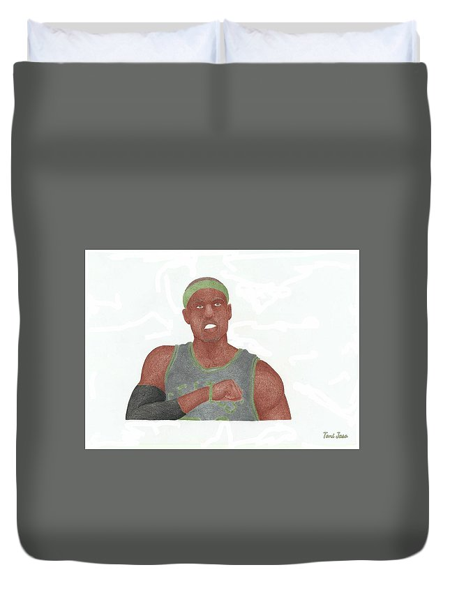 Basketball Duvet Cover featuring the drawing Paul Pierce by Toni Jaso