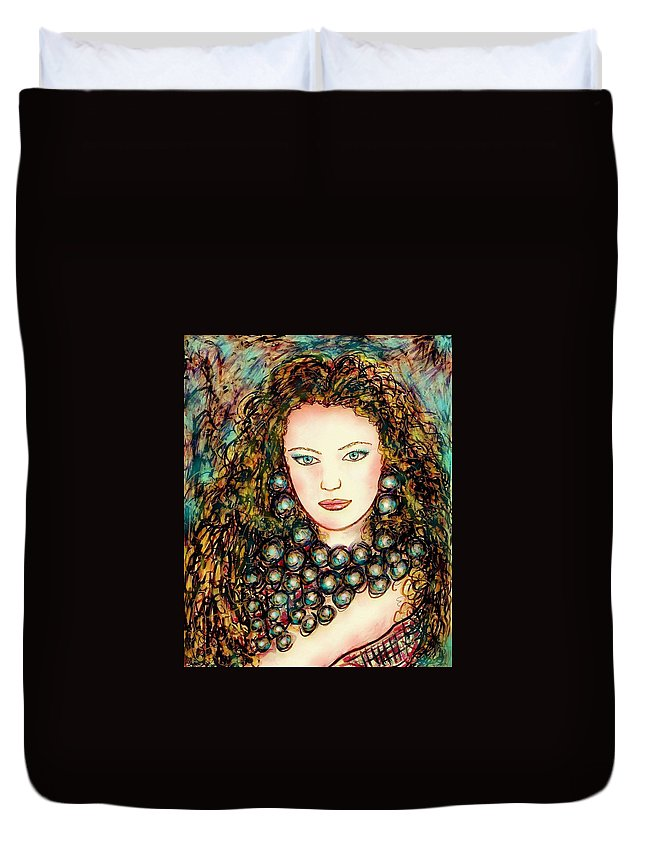 Woman Duvet Cover featuring the painting Paula by Natalie Holland