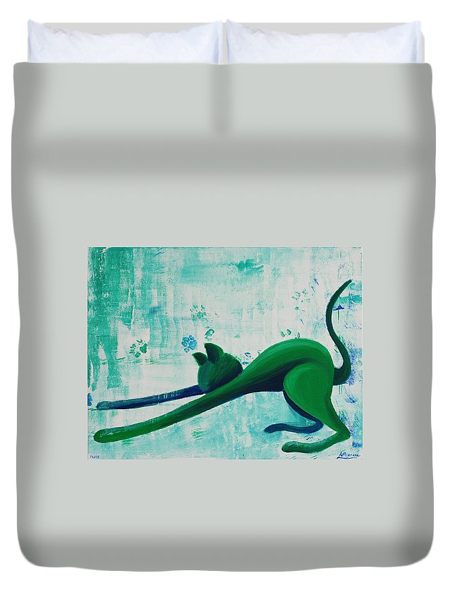 Pause Duvet Cover featuring the painting Pause by Catt Kyriacou