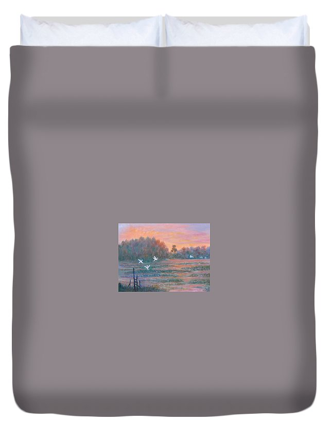 Low Country; Egrets; Sunset Duvet Cover featuring the painting Pawleys Island by Ben Kiger