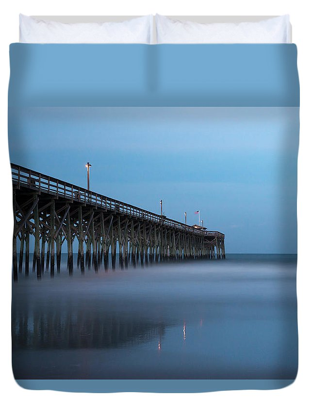 Pawleys Island Duvet Cover featuring the photograph Pawleys Island Pier During The Blue Hour by Ivo Kerssemakers