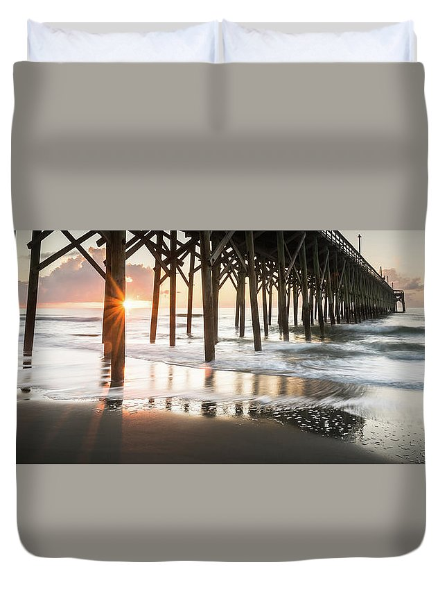 Pawleys Island Duvet Cover featuring the photograph Pawleys Island Pier Sunrise by Ivo Kerssemakers
