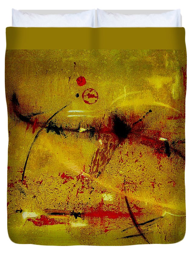 Abstract Duvet Cover featuring the painting Pay More Careful Attention by Ruth Palmer