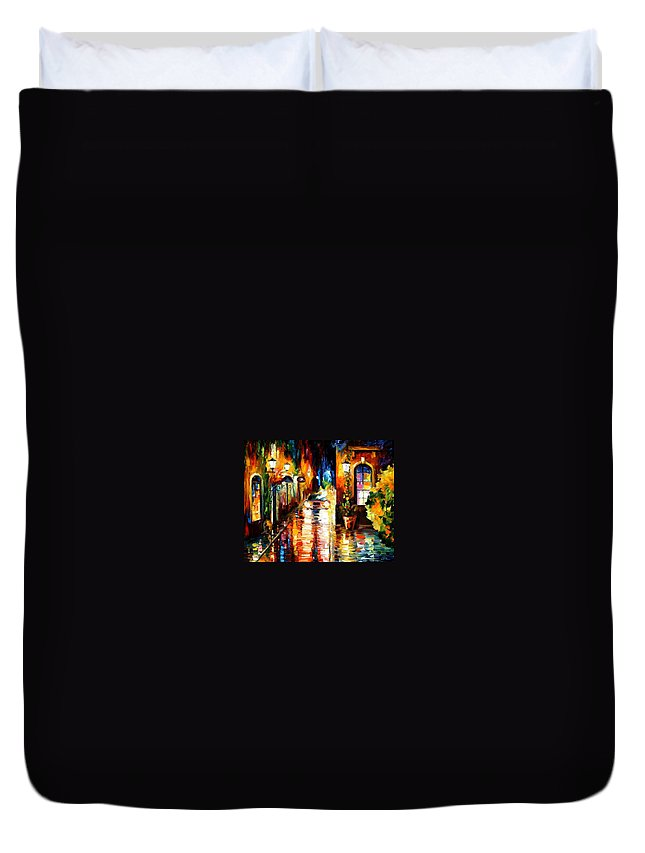 Afremov Duvet Cover featuring the painting Paying A Visit by Leonid Afremov