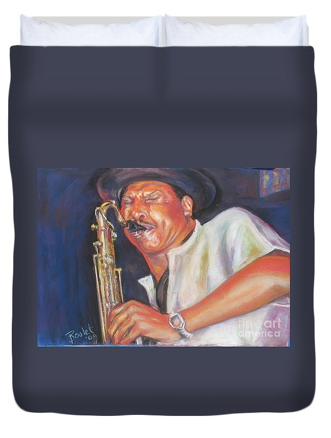 Portrait Duvet Cover featuring the painting Pdaddyo by Beverly Boulet