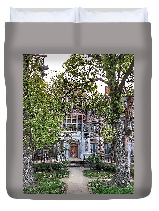 The Neo-gothic Style Building At 2064 Boston Road Duvet Cover featuring the photograph Peabody Home by William Rogers
