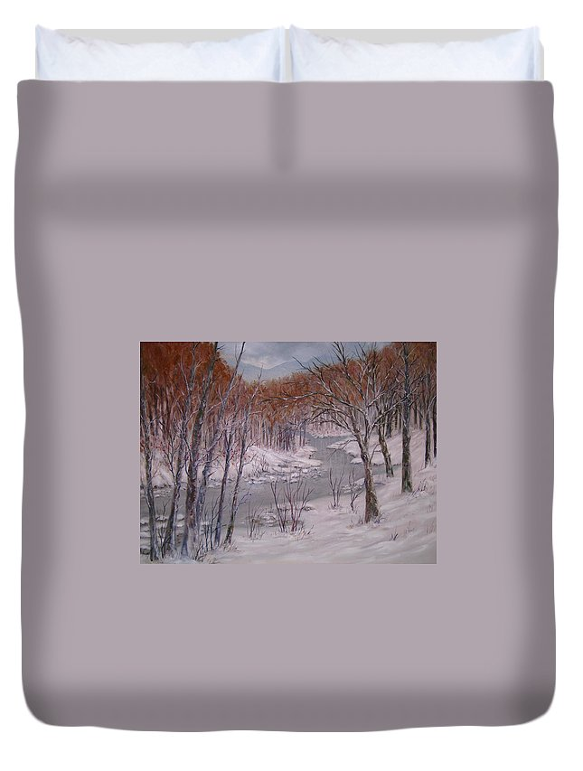 Peace Project Duvet Cover featuring the painting Peace and Quiet by Ben Kiger
