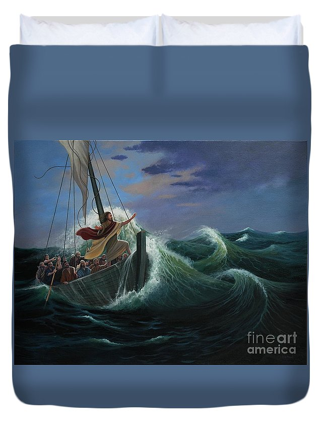 Bible Duvet Cover featuring the painting Peace Be Still by Michael Nowak