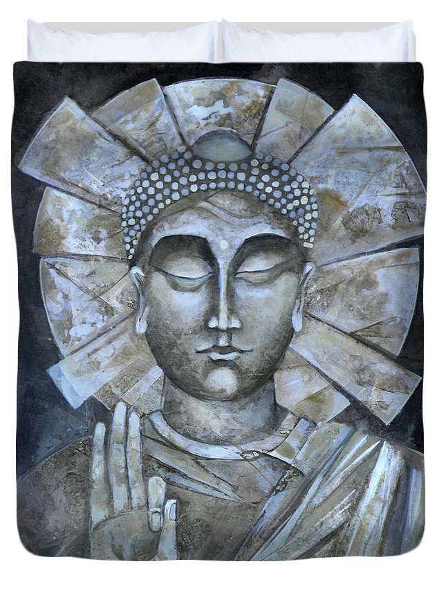 Peace Buddha Duvet Cover featuring the painting Peace Buddha by Mary jane Miller