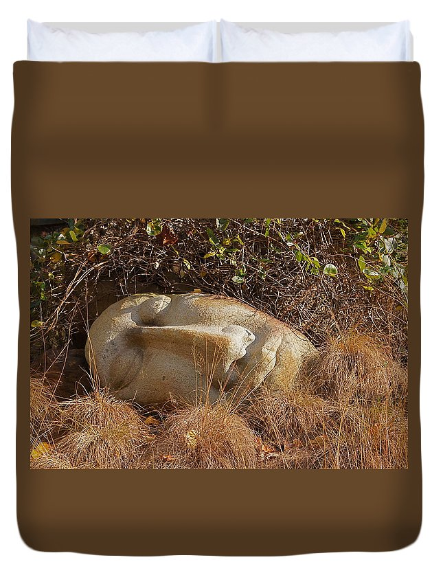 Peaceful Face Duvet Cover featuring the photograph Peace by Byron Varvarigos