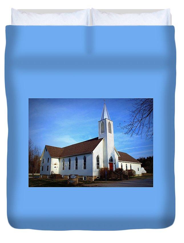 Church Duvet Cover featuring the photograph Peace Church by Cricket Hackmann
