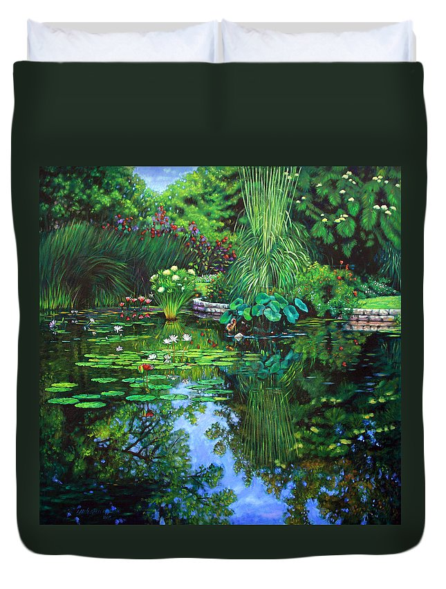 Landscape Duvet Cover featuring the painting Peace Floods My Soul by John Lautermilch