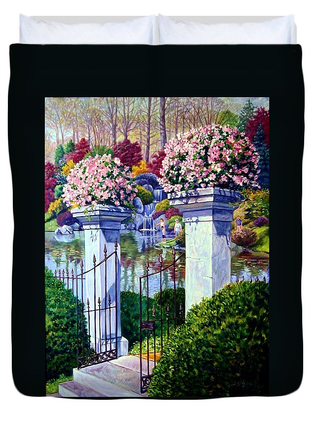 Garden Gates Duvet Cover featuring the painting Peace In The Garden by John Lautermilch