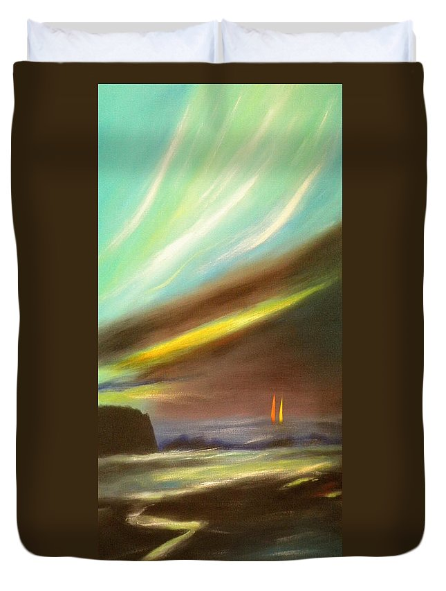 Sunset Duvet Cover featuring the painting Peace Is Colorful - Vertical Painting by Gina De Gorna