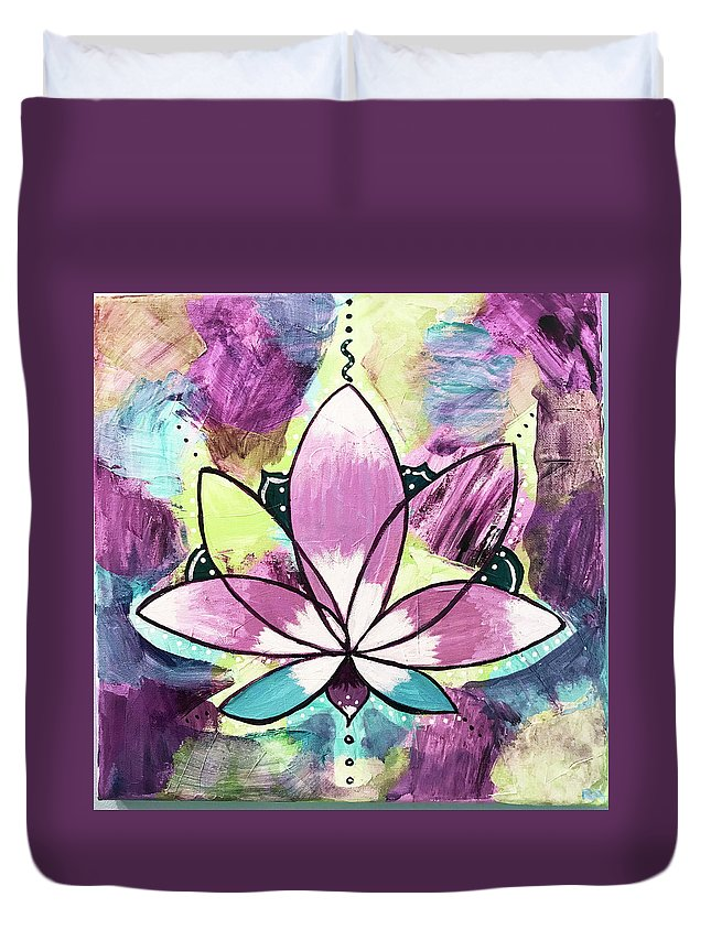 Canvas Duvet Cover featuring the painting Peace, Love, Lotus by Roseann Amaranto