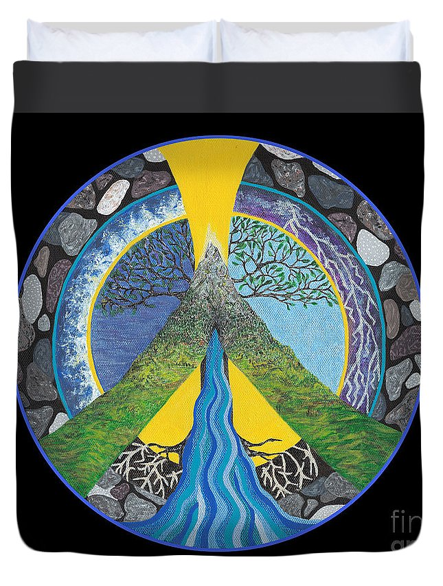 Peace Duvet Cover featuring the painting Peace Portal by Tree Whisper Art - DLynneS