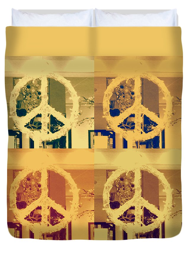 Peace; Contemporary; Peace Sign; Friends; Yellow; Decor; Ornate Duvet Cover featuring the photograph Peace by Sherry Dee Flaker