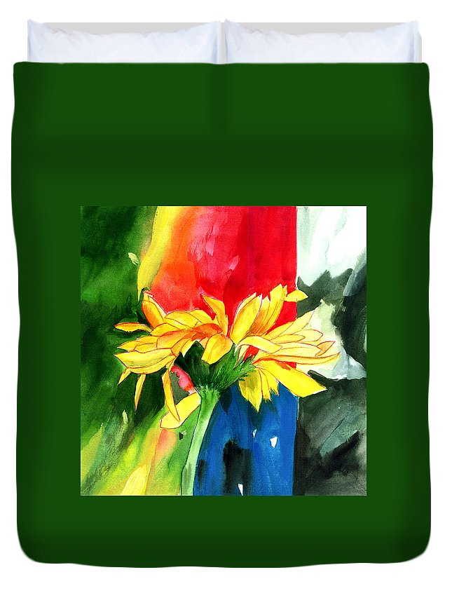 Peace Duvet Cover featuring the painting Peace Square by Anil Nene