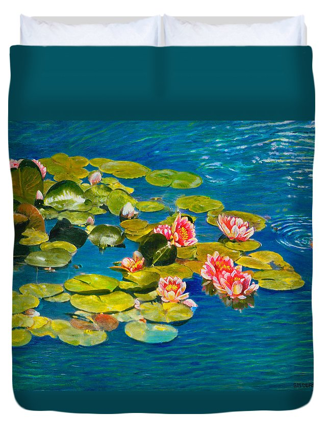 Water Lilies Duvet Cover featuring the painting Peaceful Belonging by Michael Durst