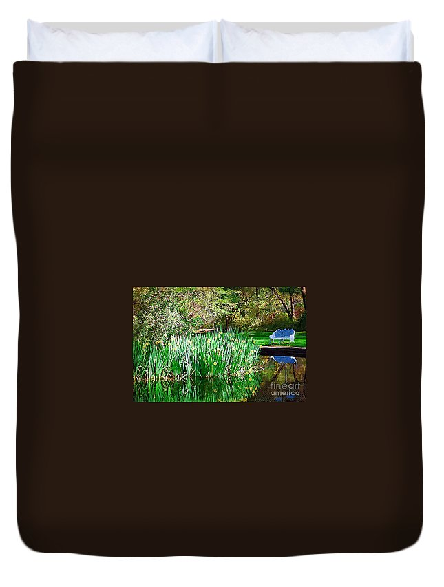 Pond Duvet Cover featuring the photograph Peaceful by Donna Bentley
