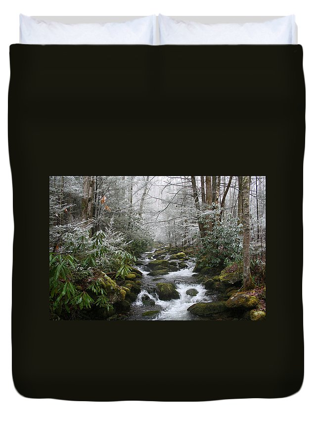 Forest Wood Woods Nature Green White Snow Winter Season Creek River Stream Flow Rock Tree Rush Duvet Cover featuring the photograph Peaceful Flow by Andrei Shliakhau