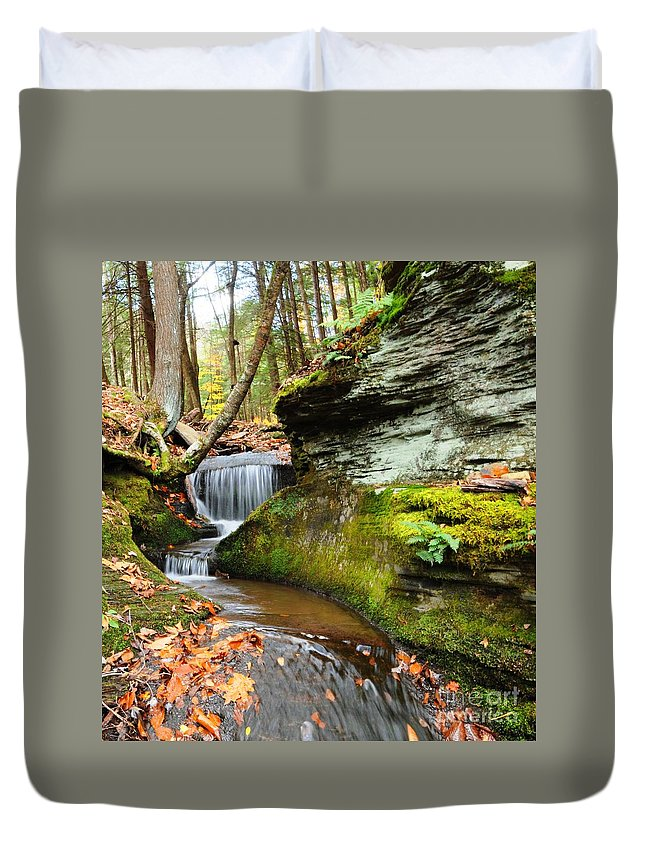 Stream Duvet Cover featuring the photograph Peaceful Flow by Scott Hafer