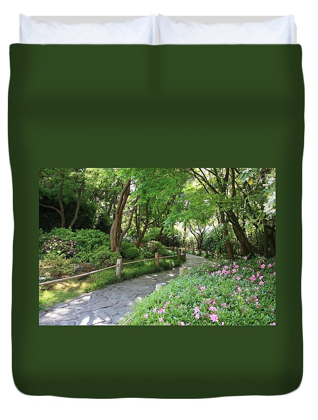 Garden Path Duvet Cover featuring the photograph Peaceful Garden Path by Carol Groenen