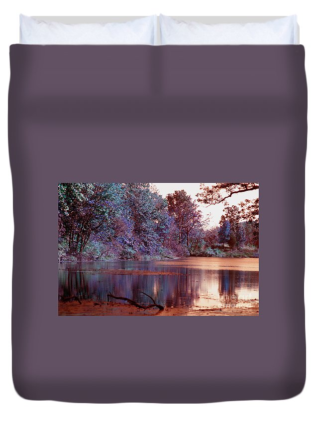 Infrared Duvet Cover featuring the photograph Peaceful In Infrared No2 by Alan Look