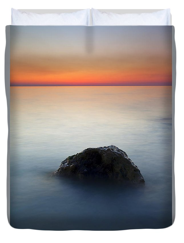 Rock Duvet Cover featuring the photograph Peaceful Isolation by Mike Dawson