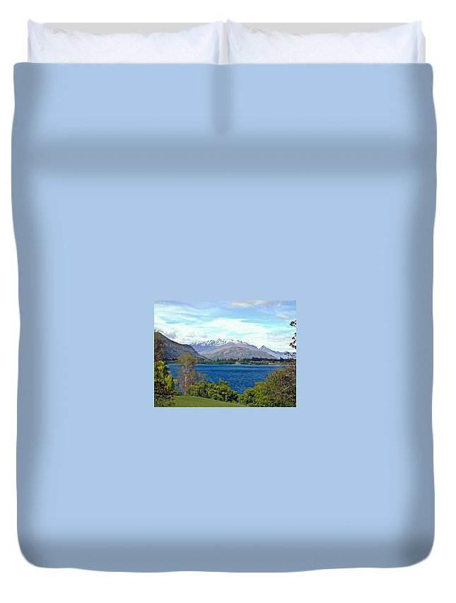 Lake Duvet Cover featuring the photograph Peaceful Lake -- New Zealand by Douglas Barnett