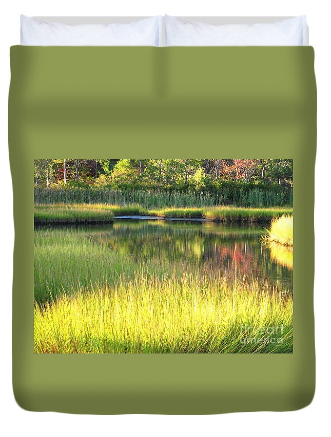 Water Duvet Cover featuring the photograph Peaceful Marsh by Sybil Staples