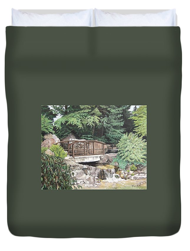 Landscape Duvet Cover featuring the painting Peaceful Place by Bonnie Heather