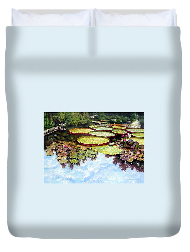 Landscape Duvet Cover featuring the painting Peaceful Refuge by John Lautermilch